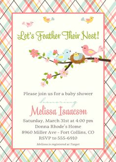 baby shower invite feather thier nest with bird by katiedidesigns, $13.00