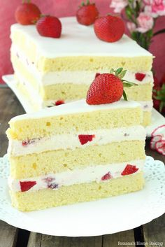 This Strawberry Shortcake Cake is a lovely change from the traditional strawberry shortcake. Layers of rich buttery cake filled with smooth cheesecake and chopped fresh strawberries. | A Treats Affair