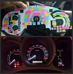 Use post-it's to color your dashboard. Cool idea