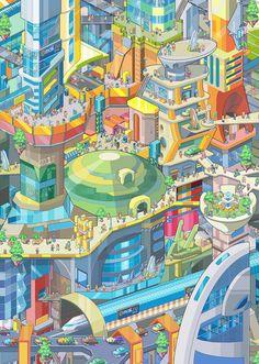 This illustration is made for 2013 calendar for MailRu company. Originally it's pixelart. Futuristic city, for mairu 2013 caledar Art Isométrique, Pixel Art, City And Colour, City Drawing, Isometric Art, Art Vintage, Futuristic City, City Illustration, 3d Max