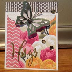 Handmade support card by jan metcalf.  PTI butterfly and Hugs script dies, Spellbinders Grand Label die, vellum, gold foil and MME papers, sequins.  Another card inspired by Danielle Flanders Craftsy card class.