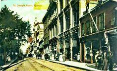 Rue Saint-Joseph Est dans le Quartier Saint-Roch en basse-ville vers le début des années 1900