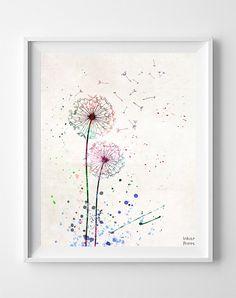 Dandelion Print Flower Print Dandelion Poster Type by InkistPrints