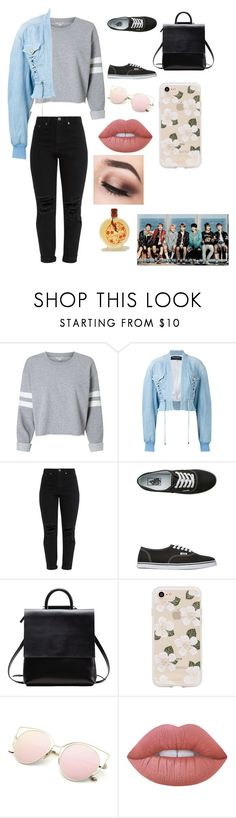 """""""Day out with BANGTANG BOYS 😍♥️"""" by leila-hussain ❤ liked on Polyvore featuring Balmain, Vans, Sonix and Lime Crime"""