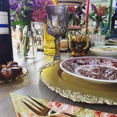 Bohemian table setting, colored glass & gold