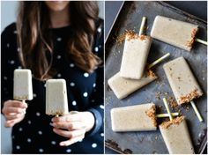 Caramelized banana & coconut ice cream popsicles - A Tasty Love Story