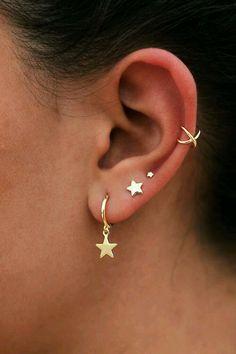77 Ear piercing ideas for Women. Cute and Beautiful Ear piercing Ideas. earring - Cartilage Piercing - 77 Ear piercing ideas for Women. Cute and Beautiful Ear piercing Ideas. 77 Ear piercing ideas for Women. Cute and Beautiful Ear piercing Ideas. Ear Piercing For Women, Pretty Ear Piercings, Piercings Rook, Tongue Piercings, Double Ear Piercings, Double Cartilage, Dermal Piercing, Piercings For Small Ears, Cartilage Earrings