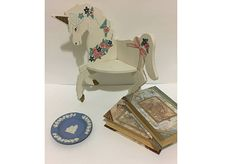 Vintage Wood Shelf Unicorn design shelf Small Corner Shelf