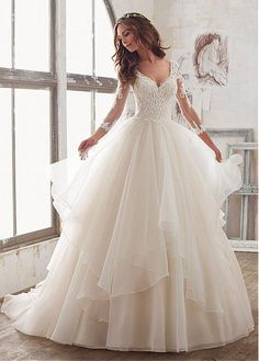 Buy discount Lavish Tulle & Organza V-Neck A-Line Wedding Dresses With Embroidery & Beadings at Magbridal.com