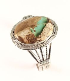 Native American Sterling Silver Boulder Turquoise Navajo Indian Cuff Bracelet #NativeAmerican