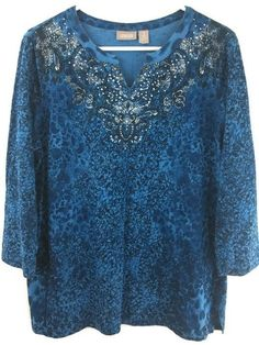 Chicos 1 Top Blue & Silver Studded 100% Cotton 3/4 Sleeve Print Blouse S/M…
