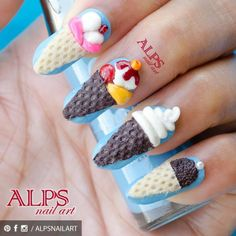 3D ice cream nail art - by Alpsnailart https://www.facebook.com/alpsnailart  My first 3D nailart, using Naio UK 3D acrylic kit.