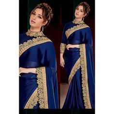 Bring out charming glory in you with this navy blue silk satin tamanna bollywood saree. Saree features amazing designs of embroidery work and patch border work. Comes with matching blouse. Bollywood Sarees Online, Bollywood Designer Sarees, Indian Sarees Online, Bollywood Outfits, Bollywood Party, Indian Bollywood, Bollywood Actress, Blue Silk Saree, Satin Saree