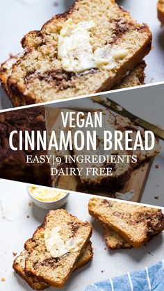 This delicious and no yeast vegan cinnamon quick bread tastes like snickerdoodles for breakfast! Vegan Dessert Recipes, Vegan Breakfast Recipes, Vegan Sweets, Healthy Vegan Desserts, Recipes With Vegan Butter, Yummy Vegan Snacks, Quick Vegan Breakfast, Vegan Baking Recipes, Raw Desserts