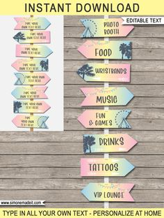 No Fail Birthday Party Ideas Fun Party Themes, Birthday Party Decorations, Party Ideas, Coachella Party Decorations, Festival Themed Party, Directional Signs, Disco Party, Tropical Party, Party Signs