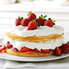 Strawberries & Cream Torte Recipe -This festive strawberry summer treat is one of my mom's favorites. It wows guests every time yet is simple to make. —Cathy Branciaroli, Wilmington, Delaware