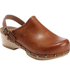 There's nothing quite like a stylish clog, and these got every detail just right—from the adjustable strap to the metallic studs to the unexpectedly lightweight comfort that'll keep you smiling all day. Clogs Outfit, Clogs Shoes, Wedge Shoes, Female Pirate Costume, Pirate Costumes, Earth Shoes, Leather Clogs, Fall Shoes, Smooth Leather