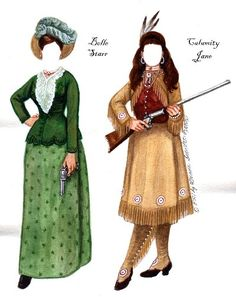 """BUFFALO GALS  Brenda's 1995 B&W set """"Women of the Wild, Wild, West"""" was always one of her favorites, so she decided to rework it in color. She has added a few to Percephone Peashooter's personae! from Historical Figures Paper Dolls by Brenda Sneathen Mattox"""
