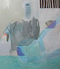 "Gray Cloud, White Bars, 48""x52"", mixed media on canvas...Sarah Boyts Yoder"