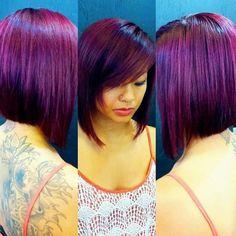 All things purple Short Hair Cuts, Short Hair Styles, Cute Haircuts, Bob Haircuts, Look 2015, Haircut And Color, Hair Dye Colors, Crazy Hair, Grow Hair
