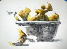 남일 수채화 Gallery Watercolor Food, Easy Drawings, Still Life, Fine Art, Gallery, Painting, Pears, Pastels, Learning