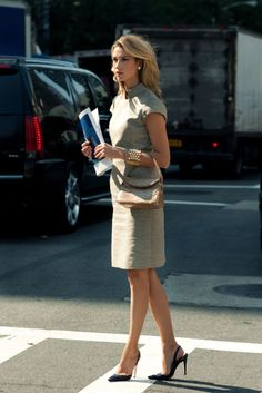 Simple, feminine, professional, modest, classy, fashionable! Everything a woman could want or need in an interview outfit! She's ready!