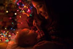 Mommy baby Christmas picture with Christmas lights!