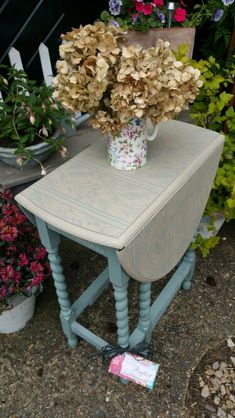 Shabby chic gateleg barley twist drop leaf table in Annie Sloan's Duck Egg and Country Grey with stencil detailing, by Imperfectly Perfect xx