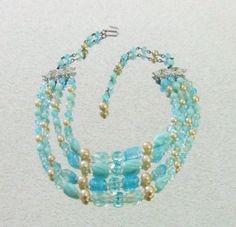 456 Vintage Signed Japan Faux Pearl Blue Glass Bead Multstrand Choker Necklace   eBay