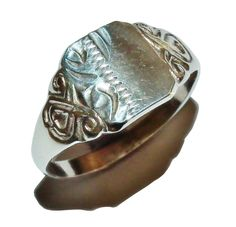 Stamped SILVER , Sterling Silver Patterned Square Signet Ring - UK Size: L 1/2