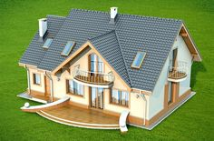 This four bedroom classic house design is an interesting proposition for people with medium-wide plot. The house has a typical shape, which greatly facilitates the construction process. Classic House Design, Simple House Design, Pinterest Room Decor, Front Porch Steps, House Construction Plan, Apartment Makeover, Storey Homes, Home Design Plans, Small House Plans