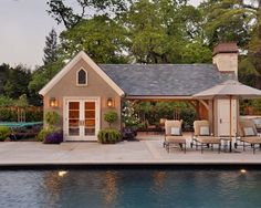 Buying A House With A Pool: House With Contemporary Pool Pavilion Lamps Chairs Table Umbrella Flowers Surround Tree Ideas ~ aureasf.com Chairs Inspiration