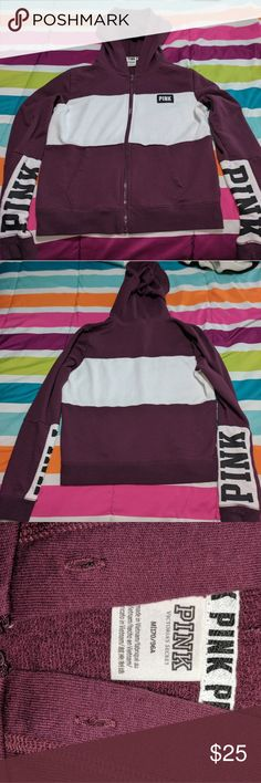 VS PINK zip up sweater Size medium, Burgundy sweater with pink written on both arms as seen in piks. Note::missing strings on the hoodie seen pik 3.  See seller feedback! PINK Victoria's Secret Tops