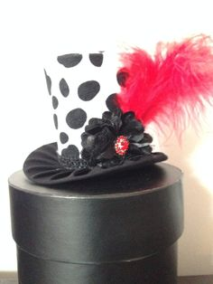 Funky Black and White Dalmation Mini Top Hat for by daisyleedesign