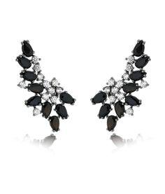 b67bbd5cd9 brinco ear cuff com zirconias negras e banho de rodio semi joias modernas  Brincos Grandes