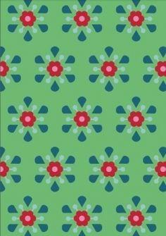 """Wunderschöner grüner Bio-Jersey """"Retroblumen"""" von Lillestoff.  Design: Anne Jakopovic-Plath/gretelies für lillestoff. Alle Rechte vorbehalten.  ..."""