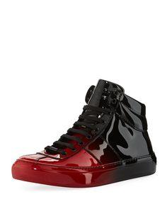 JIMMY CHOO Belgravia Men'S Dégradé Patent Leather High-Top Sneaker, Red/Black, Blue/Black. #jimmychoo #shoes #