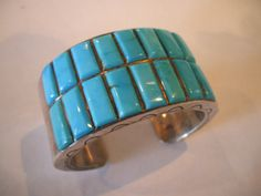 Rare Vintage Signed TOBE TURPEN Heavy Sterling & Turquoise Cuff BRACELET 126g, attributed to Mary Morgan.  TurquoiseKachina, $694.88