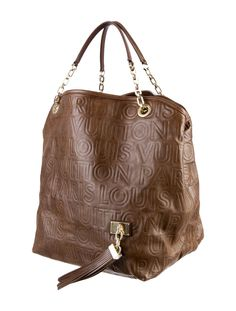 louis vuitton 2008 handbag collection. from the f/w 2008 collection. brown logo embossed leather louis vuitton paris souple whisper gm tote with brass hardware, exterior tassel, two flat handles handbag collection