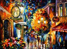 "Cafe In The Old City — PALETTE KNIFE Landscape Modern Art Decor Oil Painting On Canvas By Leonid Afremov - Size: 40"" x 30"" (100 cm x 75 cm)"