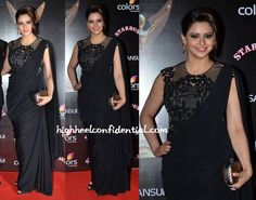 Amna picked a black Sonaakshi Raaj to wear at the Stardust Awards pairing the sari gown with a metallic Bottega Veneta knot clutch. Having seen the sari gown on just about everyone in many different variations and colors, there wasn't much novelty to this look. But, I have to admit, she did look nice. Amna …