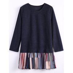 26.32$  Watch here - http://dimwm.justgood.pw/go.php?t=203575603 - Stripe Long Sleeve Faux Twinset Dress 26.32$