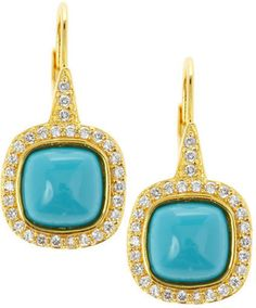 ShopStyle: CZ by Kenneth Jay Lane Pave Turquoise Drop Earrings