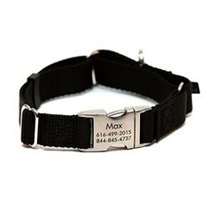 Rita Bean Engraved Buckle Personalized Martingale Style Dog Collar  Black Nylon Webbing Large *** Check this awesome product by going to the link at the image.