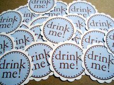 Alice In Wonderland ~ Birthday Party Decoration Idea ~ Drink Me ~ Tea Party ~ Baby Shower ~ Wedding Shower ~  Birthday Party Decoration Idea ~ Customized Confetti & Cupcake Toppers ~ www.missymadeit.com
