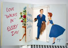 Vintage 1940s Happy Birthday To My Husband Greetings Card.