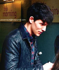 Colin Morgan signing for fans before an interview on the This Morning show May 28, 2013.