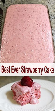 Best Ever Strawberry Cake — DELICIOUSLY COOKING - DELICIOUSLY COOKING # strawberry cake recipes dessert recipes dessert brunch recipes dessert cake recipes dessert easy recipes dessert kids recipes dessert video Strawberry Sheet Cakes, Strawberry Dessert Recipes, Easy Strawberry Cake, Strawberry Brownies, Recipes With Strawberries, Strawberry Cake From Scratch, Best Strawberry Cake Recipe Ever, Recipe With Strawberry Cake Mix, Cake With Jello Recipe