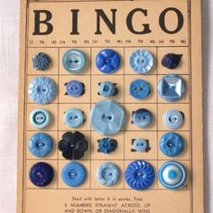 "I have antique and vintage buttons that I am bringing to the June Show, along with wooden Bindo Cards.  Everything you need to make this...""Button bingo card...too cool"""