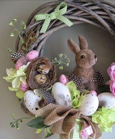 Easter Decorations 398920479492775695 - ProjectGallias: Spring wreath, easter decoration with bunny handmade, Wianek wielkanocny z zajączkiem, dekoracja Source by lemoalcharpenti decorating bedroom Easter Projects, Easter Crafts, Bunny Crafts, Easter Ideas, Diy Osterschmuck, Easy Diy, Diy Ostern, Diy Easter Decorations, Thanksgiving Decorations